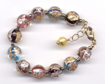 Murano Glass Luna Bracelet, 12mm Round Multicolor Venetian Beads with 24 Kt Gold Foil, Silver Foil, Aventurina, Gold Filled Chain & Clasp
