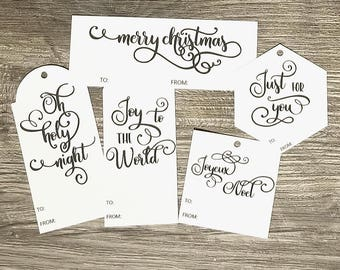 Printable Gift Tags - Word Art Gift Tag - Christmas Gift Tags - Instant Download - Black and White Christmas tags - Digital Gift Tag