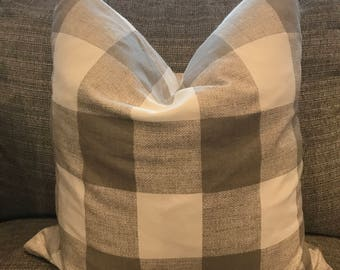 White and Tan Plaid Down Feather Pillow