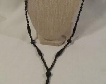 JEWELRY Sale Victorian Edwardian 1800s jet glass tassle bead  necklace Downton Abbey