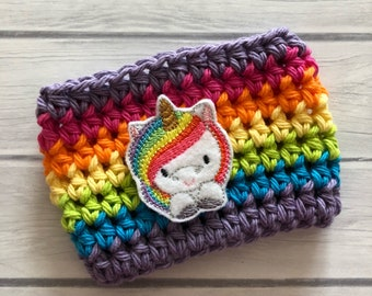 Unicorn cup cozy, rainbow cup cozy, coffee cup cozy, crochet cup cozy, coffee cup sleeve, reusable coffee cozy, crochet cup sleeve, cup cozy