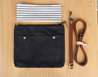 Crossbody Minimalist Waxed Canvas Purse in Black, Choose Your Lining Color and Removable Leather Strap Length, Small Messenger Bag, USA Made