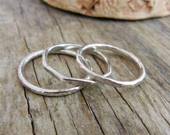 Sterling Silver Stacking Rings - Silver- Stackable Rings - Silver Rings For women - Silver stacking rings - Textured Stacking rings