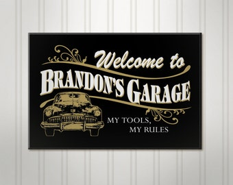 "Large Personalized Garage Sign, ManCave Pub Sign, Personalized Sign, Personalized Beer Sign, Man Cave Bar Decor, 18"" x 24"""