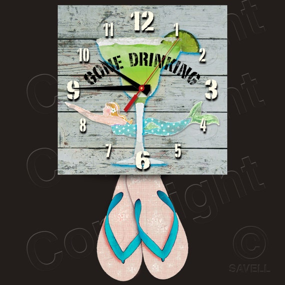 Gone Drinking Clock with Flip Flop Pendulum • Margarita Clock