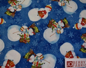 Snowmen with Gifts from the Snowy Friends Collection by Nancy Mink for Wilmington Prints, Quilt or Craft Fabric, Fabric by the Yard