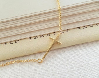 Gold Sideways Cross Necklace, Off Center Cross Necklace, Asymmetrical Gold Sideways Cross Necklace, Bridesmaid gift, Fast Shipping