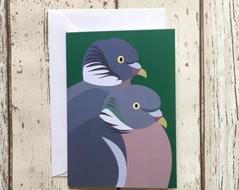 Woodpigeon greeting card - blank inside