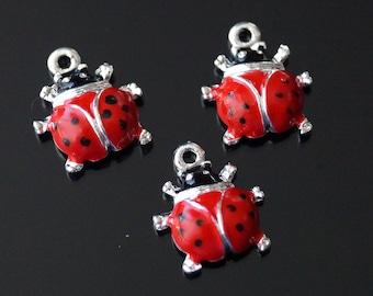 10x Red Black Dots Enamel Ladybird Ladybug Charm Pendant 16mm (TSC28)