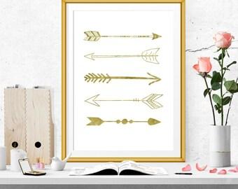 Realistic Faux Gold Foil Arrows Print. Gold Foil Arrow Wall Art