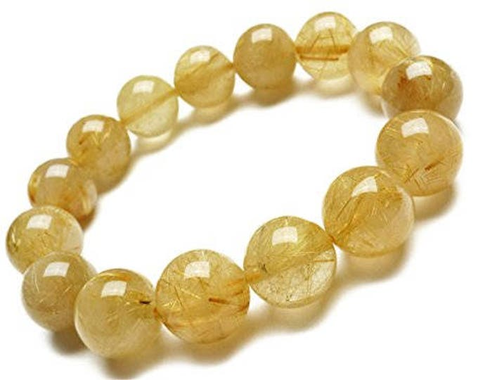 """Genuine Rutilated Quartz Golden Yellow Natural Gemstone 7""""- 7.5"""" Stretch Bracelet Available in 6- 8 & 10 mm Round Beads-Unisex"""