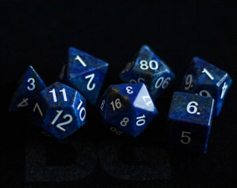 Lapis Lazuli Gemstone Polyhedral Dice Set:  Hand Carved with Quality!  Full-Sized 16mm.  Great for DnD RPG Dungeons and Dragons.