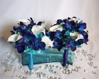 Chelsey's Bridemaids Bouquets, Turquoise Hydrangeas,Blue Violet CA Dendrobuim Orchids, White Calla