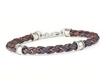 BROWN Braided Leather Bracelet for Men, Leather and Silver Bracelet for Women, Mens Leather Bracelet, Womens Leather Bracelet, Mens Bracelet