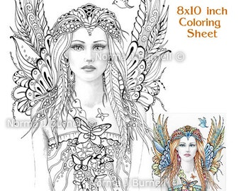 Fairy Flutters Fairy Tangles Grayscale Printable Coloring Sheets & Pages Norma J Burnell Adult Coloring Books for Grownups Digital Coloring