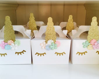 Unicorn party boxes bags favours children's party handmade pack of 30