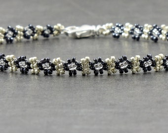 Seed Bead Anklet - Hematite Anklet - Chain Ankle Bracelet - Daisy Chain Jewelry - Summer Anklet - Beaded Jewelry - Foot Jewelry
