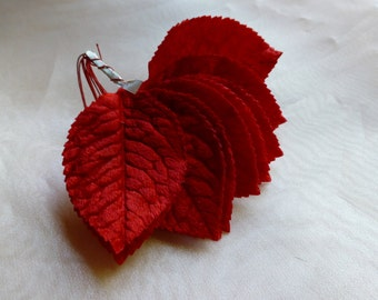 12 RED Velvet Leaves Vintage Japanese for Bridal, Boutonnieres, Corsages, Bouquets ML 94