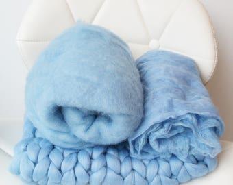 Blue Baby Boy Photo Prop Trio Blanket Set Chunky Bump Basket Stuffer Fluff