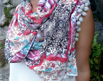 Floral Chiffon Shawl, White Pink Pompom Scarf, Large Chiffon Scarf, Sheer Shawl Wrap, Rose Print Scarf, Beach Cover Up, Women Fashion