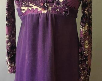60's purple paisley long sleeve velvet babydoll dress xs