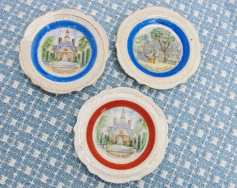 Vintage Williamsburg souvenir trinket dish set of 3