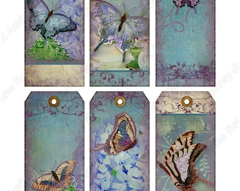 Digital Collage Sheet Printable Download Images 2.1 x 4.25 E14-05F Jewelry Holders Gift Tags, watercolor vintage Paper Scrapbook  Manila tag