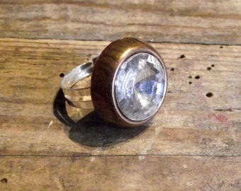 Ring adjustable vintage faceted button adjustable ring vintage button