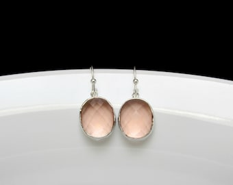 hammered blush earrings , silver blush earrings , peach bridesmaids earrings , champagne silver earrings , pink blush earrings , weddings