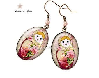 Earrings * matryoshka * bronchus pink cabochon flowers glass costume jewelry