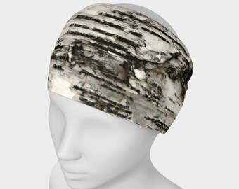 Tree Headband - Hair Accessory - Scarf - Face Warmer - Versatile Accessory - Bandana - Birch Bark Black and White