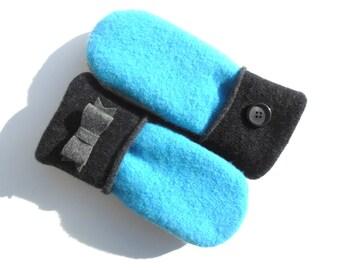 Felted Wool Mittens, Blue, Light and Dark Gray, Fleece Lined Mittens, Gift for Her, Gift under 30, Teacher Gift