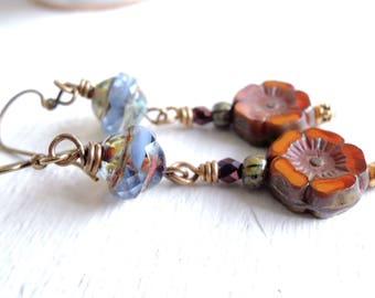 Pumpkin Spice and Blue Glass Dangles Rustic Bohemian Earrings Fall Accessories Earthy Czech Glass Earrings Boho Autumn Flower Earrings