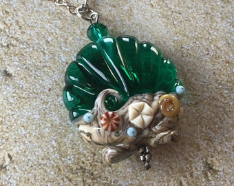 Emerald Green Shell Lampwork Pendant, Lampwork Pendant/Necklace, Lampwork Jewelry, Shell Pendant, Gift For Her, SRA Lampwork