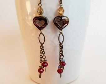Marbled heart Czech glass heart earrings - red and antique brass boho earrings