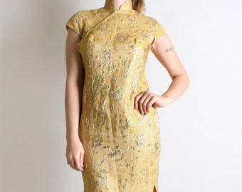 Vintage Cheongsam Cocktail Dress - Golden Yellow Metallic Shine Wiggle - Medium