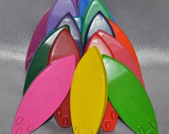 Recycled Crayons Surfboards Shaped Total of 75.  Boy or Girl Kids Unique Party Favors, Crayons.