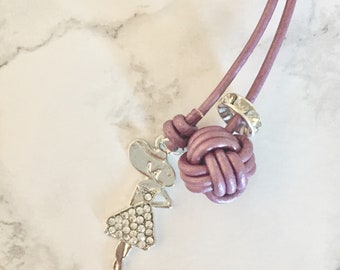 Monkey fist knot bookmark with a  silver summer girl