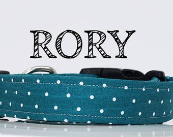 Rory - Teal Polka Dot Handmade Collar
