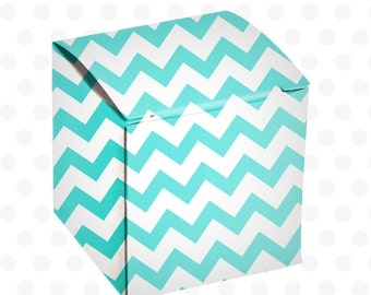 Commercial Use Instant Download  Printable Box Template Pattern - Square - Chevron