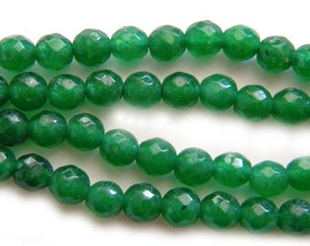 """15"""" Strand 6mm Faceted Jade Beads"""