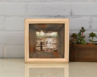 """4x4"""" Square Picture Frame in Rustic Reclaimed Cedar Build Up Style with Vintage Ivory Finish - IN STOCK - Same Day Shipping - 4 x 4 Frame"""