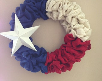 Burlap Texas flag wreath - 16""