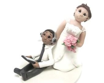 Custom wedding cake topper, Gamer's wedding cake topper, Bride and groom cake topper, Mr and Mrs cake topper, themed wedding cake topper