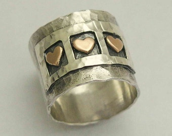 RESERVED to Susan - 5 hearts - Valentines Ring, unique silver ring, gypsy ring, wide silver band - Live laugh love. R1281