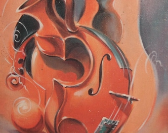 Abstract musical theme oil painting signed