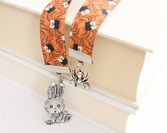 Kawaii Ribbon Bookmark - Bunny Rabbit, Itsy Bitsy Spiders, Spooky Insects, Orange Book Mark, Choice of Length