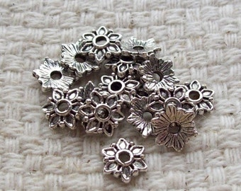 SALE - Tibetan Silver 6-Petal Flower Bead Caps - 6 mm - Set of 18