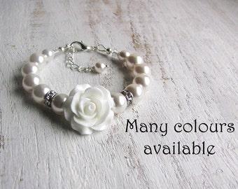 Flower Girl Gift Ideas Flower Girl Bracelet, Toddler Girl Bracelet, Baby Girl Pearl Bracelet, Flower Girl Jewelry Gift flower-girl-gift