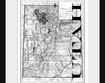 Utah Map - Map of Utah - Poster - Print